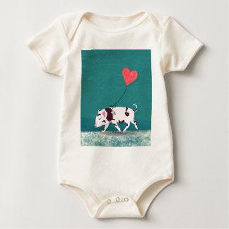 Body Para Bebê Porco do bebê com balão do coração