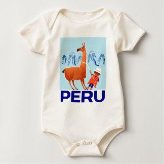 Body Para Bebê Poster de viagens de Peru da criança e do lama do