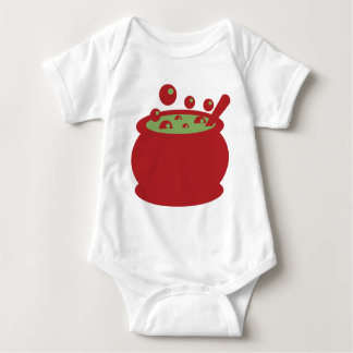 Body Para Bebê Pote vermelho e verde do cozinhar