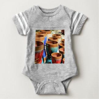 Body Para Bebê Potes coloridos da planta de jardim