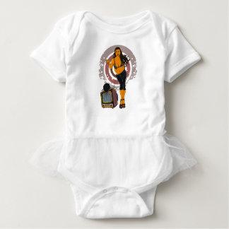 Body Para Bebê Preto de rolamento da tevê do exercício das