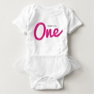 Body Para Bebê Primeira festa de aniversário do bebé cor-de-rosa