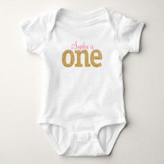 Body Para Bebê Primeiro equipamento do brilho do ouro do