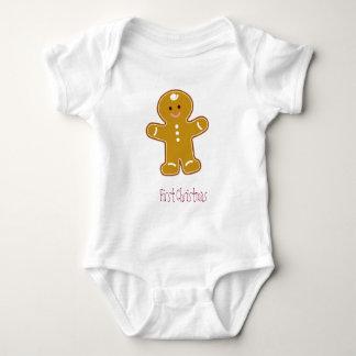 Body Para Bebê Primeiro T do pão-de-espécie do Natal