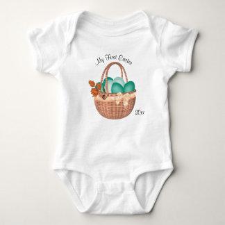 Body Para Bebê Primeiros páscoa, ovos da páscoa e cesta