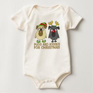 Body Para Bebê Pugs e Bodysuit engraçados do Natal | dos beijos