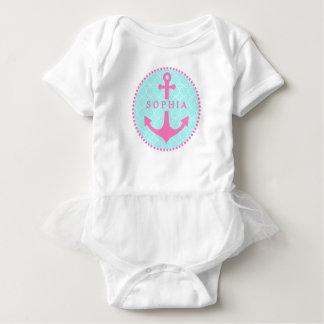 Body Para Bebê Quatrefoil azul + Bodysuit cor-de-rosa do tutu da