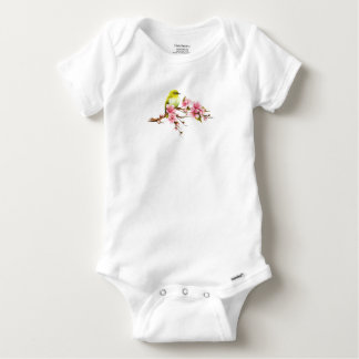 Body Para Bebê Ramo amarelo da flor de cerejeira do pássaro
