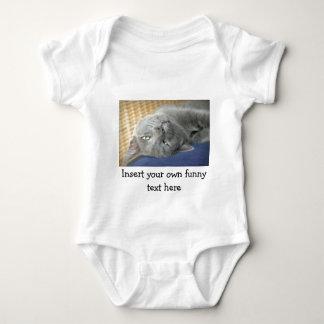 Body Para Bebê Relaxe! Gato de ronrom cinzento - Bodysuit branco