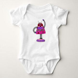 Body Para Bebê Robô de Frankie: Rosa no branco