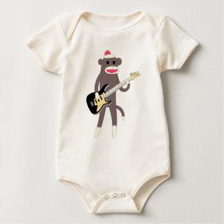 Body Para Bebê Rochas do macaco da peúga com guitarra elétrica -