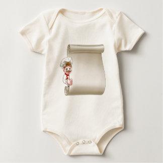 Body Para Bebê Rolo do menu do cozinheiro chefe dos desenhos
