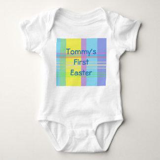 Body Para Bebê Romper da páscoa do nome Pastel da xadrez primeiro