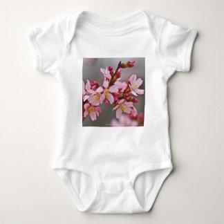 Body Para Bebê Rosa contra as flores de cerejeira cinzentas de um