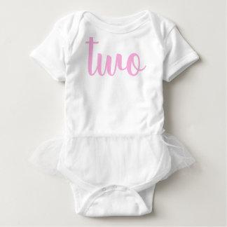 Body Para Bebê Rosa da criança do segundo aniversário dois