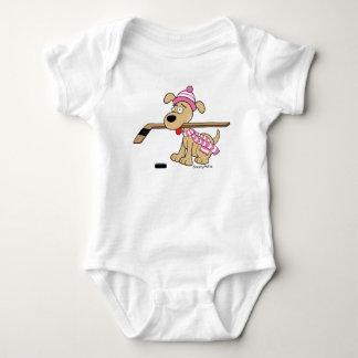 Body Para Bebê Rosa do bebé do cão do hóquei