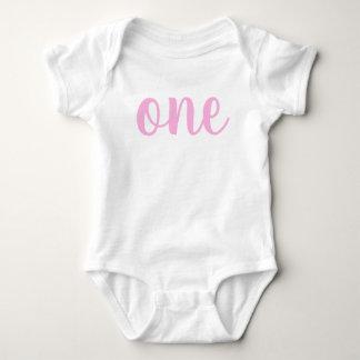 Body Para Bebê Rosa do Bodysuit do bebê do primeiro aniversario