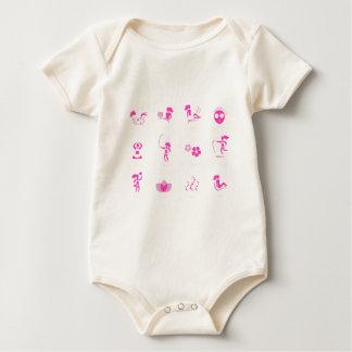 Body Para Bebê Rosa dos ícones do bem-estar no branco