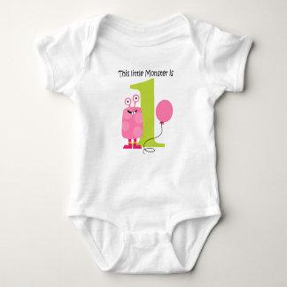 Body Para Bebê Rosa pequeno do monstro do primeiro aniversario