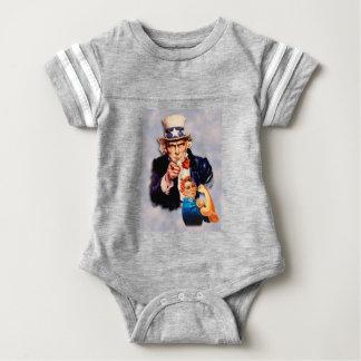 Body Para Bebê Rosie o design do rebitador & do tio Sam