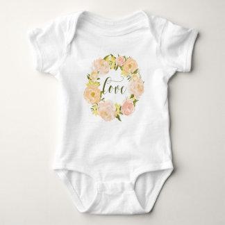 Body Para Bebê Rotulação alaranjada Pastel do amor da grinalda |