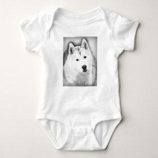 Body Para Bebê Rouco Siberian branco com esboço das belas artes