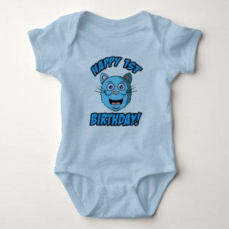 Body Para Bebê Roupa feliz do gato azul do primeiro aniversario