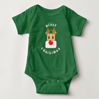 Body Para Bebê Rudolf: Merry Christmas