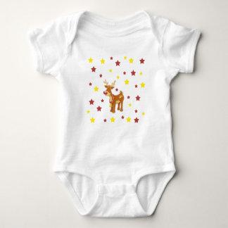 Body Para Bebê Rudolph as estrelas cheiradas vermelhas do Natal