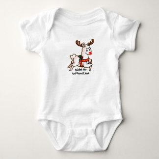 Body Para Bebê Rudolph o lama com o nariz vermelho