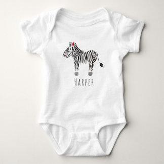 Body Para Bebê Safari unisex bonito da zebra da aguarela com nome