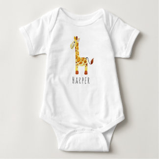 Body Para Bebê Safari unisex bonito do girafa da aguarela com