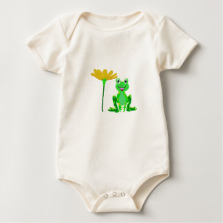 Body Para Bebê sapo pequeno e flor amarela