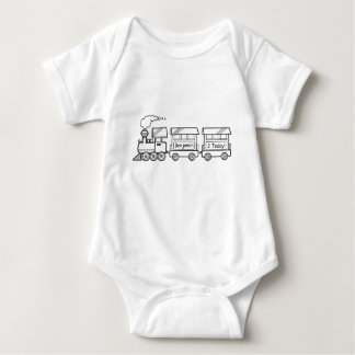 Body Para Bebê Segunda veste do trem do aniversário com nome