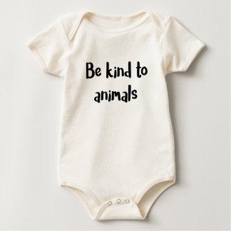 """Body Para Bebê """"Seja amável bodysuit do bebê aos animais"""""""