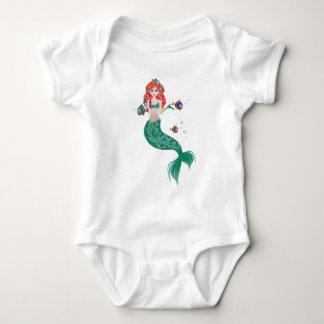 Body Para Bebê Sereia de cabelo vermelha