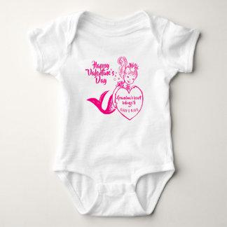 Body Para Bebê Sereia fúcsia com coração