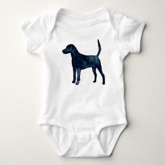 Body Para Bebê Silhueta da aguarela do preto do lebreiro do cão