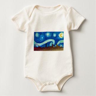 Body Para Bebê Silhueta da skyline de Austin com noite estrelado