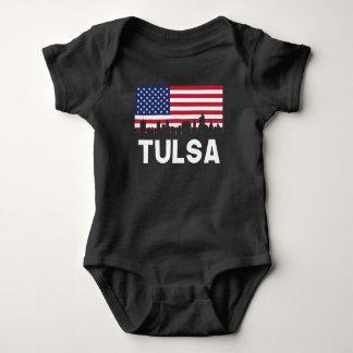 Body Para Bebê Skyline APROVADA da bandeira americana de Tulsa