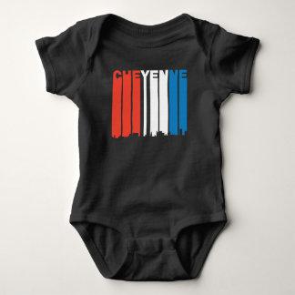 Body Para Bebê Skyline branca e azul vermelha de Cheyenne Wyoming