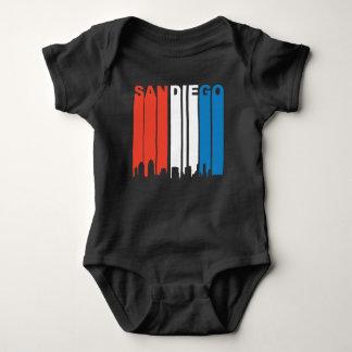 Body Para Bebê Skyline branca e azul vermelha de San Diego