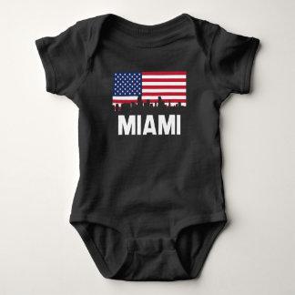 Body Para Bebê Skyline da bandeira americana de Miami FL