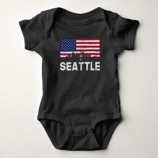 Body Para Bebê Skyline da bandeira americana de Seattle WA