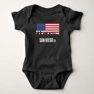 Body Para Bebê Skyline de San Diego da bandeira americana
