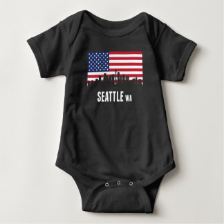Body Para Bebê Skyline de Seattle da bandeira americana