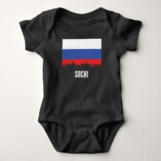Body Para Bebê Skyline de Sochi da bandeira do russo