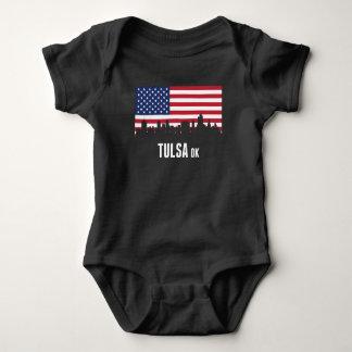 Body Para Bebê Skyline de Tulsa da bandeira americana