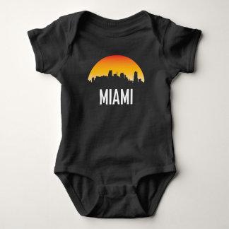 Body Para Bebê Skyline do por do sol de Miami Florida
