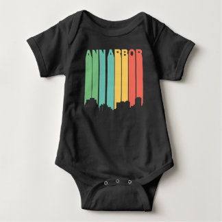 Body Para Bebê Skyline retro de Ann Arbor Michigan do estilo dos